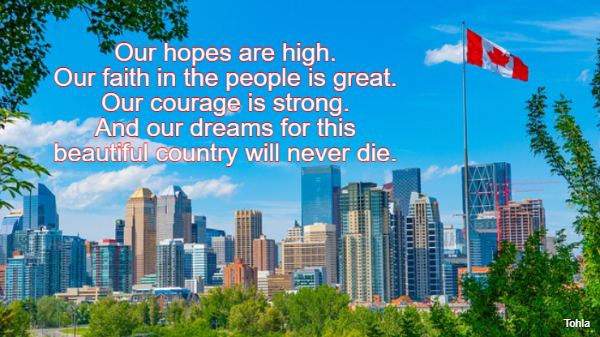 Our hopes are high. Our faith in the people is great. Our courage is strong. And our...
