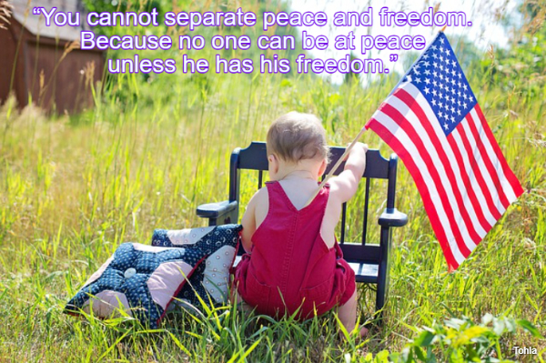 """""""You cannot separate peace and freedom. Because no one can be at peace unless he has..."""